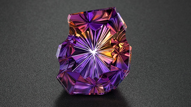 This 87.66-ct. ametrine displays the rich purple of amethyst along with the contrasting orangy yellow of citrine. Photo by Robert Weldon/GIA, Courtesy Minerales y Metales del Oriente, Bolivia, SA.