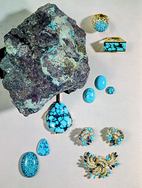 Turquoise Rough and Gem Pieces