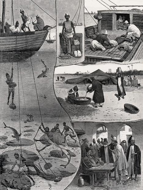 素描图展示了古代采珠技术的不同场景。