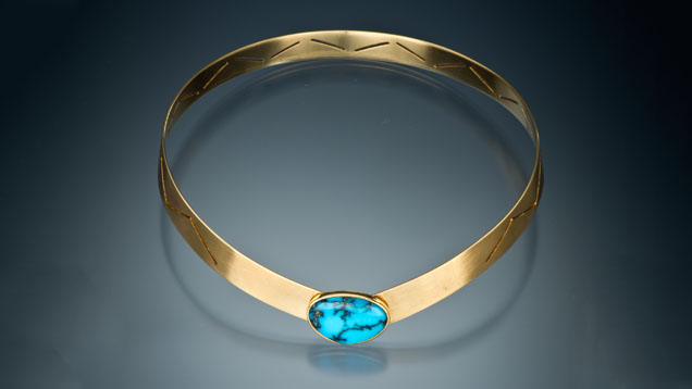 18-karat Gold Collar with Turquoise Cabochon