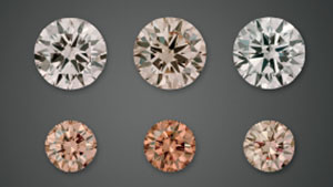 Diamonds in Their Initial States, After UV Exposure and After Heating