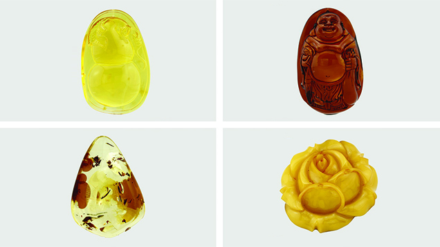 Four types of heated Baltic amber