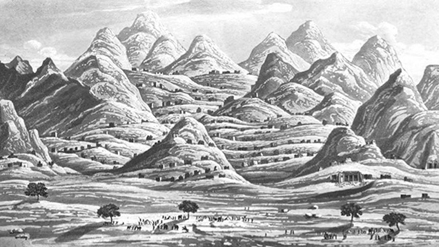 An 1817 illustration of Mount Smaragdus, the ancient emerald mining mountain in Egypt.