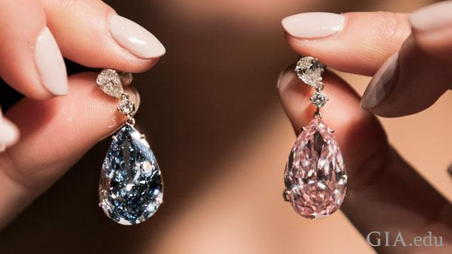 The Apollo and Artemis diamonds, twin fancy colored diamonds of 14.54 cts and 16 cts, respectively, sold for $57 million at Sotheby's in May. Photo courtesy of Sotheby's