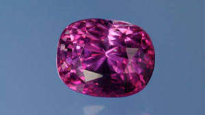 This 6.3 ct purplish pink sapphire is the first of this colour in which our laboratory detected natural Be with Ta and Nb.