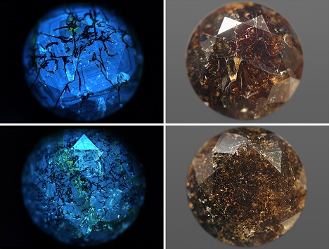 Images of two black diamonds in DiamondView and visible light.