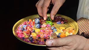 Gem miner with Burmese gems from Mogok