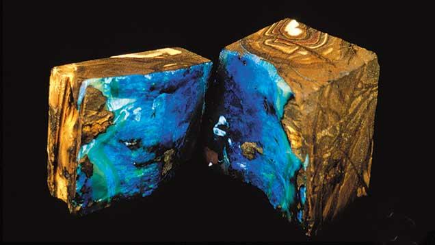 Boulder opal split open