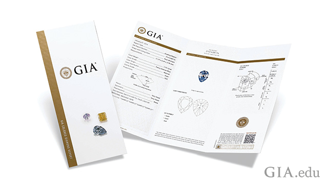 Image of cover and inside of GIA colored diamond grading report.