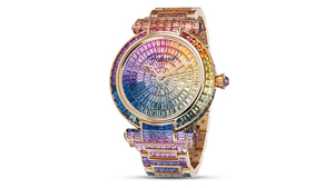 Sapphires in graduated colors – from yellow, green, blue, purple and pink – create rainbow effects on the face and band of this watch.