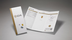 GIA Colored Diamond Identification & Origin Report with main components of the report on display and colored diamonds on the front cover.