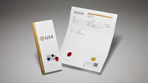 GIA Colored Stone Identification Report with main components of the report on display, and colored stones and pearls on the front cover.