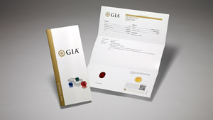 GIA Colored Stone Identification & Origin Report with main components of the report on display, and colored stones and pearls on the front cover.