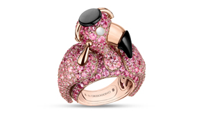 """De Grisogono's """"Crazymal"""" collection introduced in Basel combines humor and craftsmanship to a luxury line. This pink flamingo ring is 18k gold, pink sapphire and colorless diamonds. Courtesy of De Grisogono"""