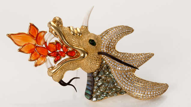 Contemporary dragon brooch