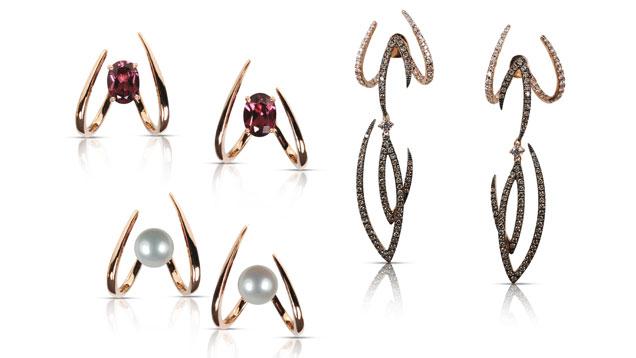 该耳套是Kavant and Sharart的标志设计。 从左上角顺时针依次为:Le Phoenix单爪镁铁榴石石榴石耳套;18K玫瑰金镶嵌Le Phoenix魔法钻石耳套;以及珍珠版的设计。