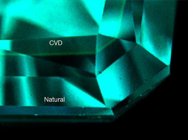 CVD-grown/natural diamond composite with color equivalent to fancy blue