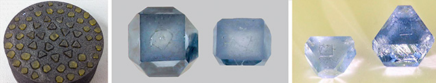 Morphology of yellow and blue synthetic diamonds