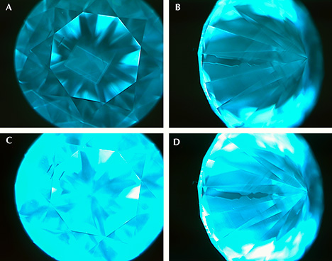 Three photomicrographs of HPHT synthetic diamonds