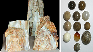 Petrified wood carvings and cabochons.