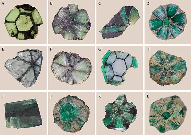 Twelve Colombian trapiche emeralds