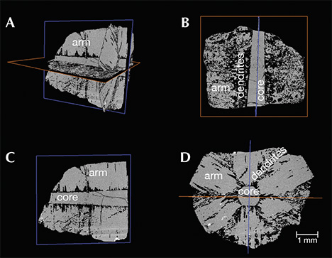 Four X-ray computed tomography images of trapiche emerald from Muzo