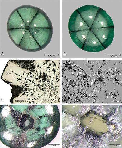 Core images of several trapiche emeralds