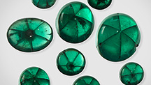 Nine trapiche emerald samples from Peñas Blancas
