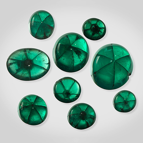 Nine trapiche emerald samples from Peñas Blancas