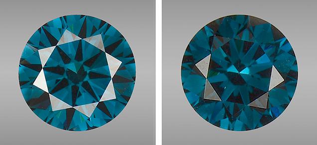 Green-blue CVD synthetic diamonds.