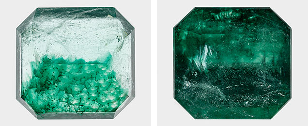 Different views show the color zoning in this emerald.