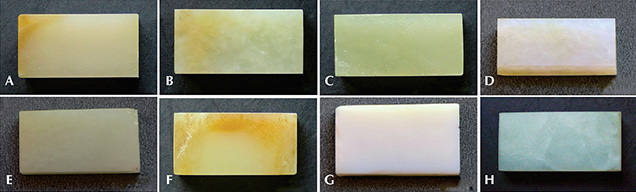 Eight nephrite block samples
