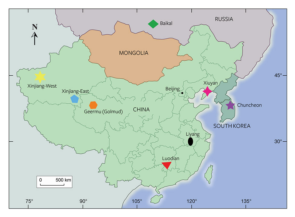 Map of East Asian nephrite deposits