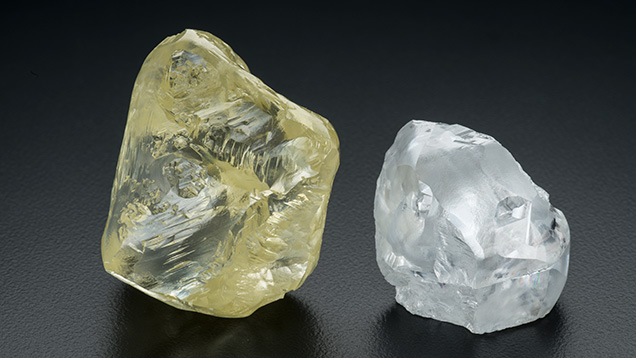 299.35 ct and 112.61 ct diamond rough