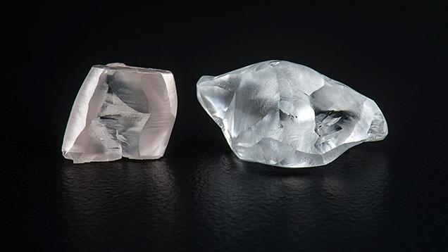 Two fancy-color rough diamonds