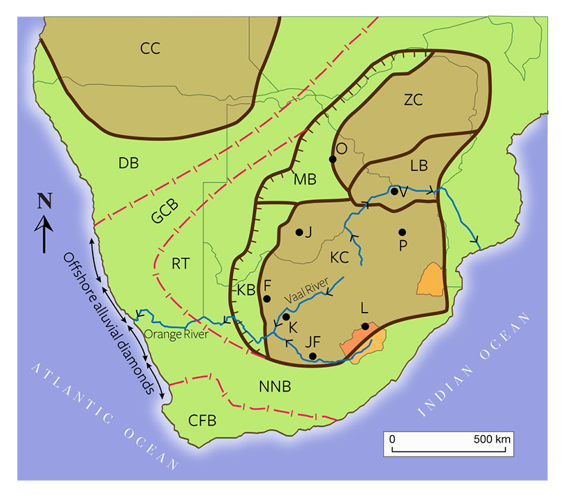 Geologic map of southern Africa