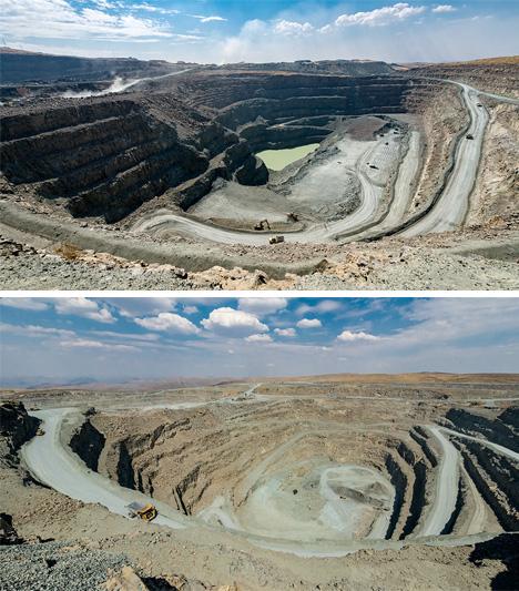 Aerial photos of diamond pipes