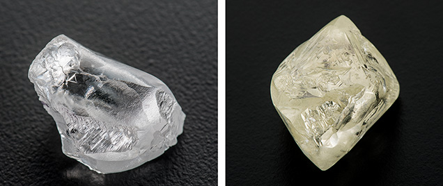 Irregularly shaped and octahedral rough diamonds