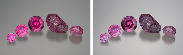 在白炽灯和与日光等同的灯下观察粉红色镁铝榴石柘榴石