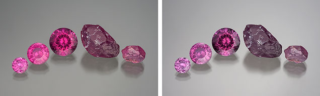 Pink pyrope garnet, shown under incandescent and daylight-equivalent light