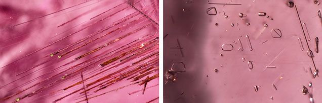 "Hollow growth tubes, negative crystals, and voids in ""color-change"" pyrope garnet"