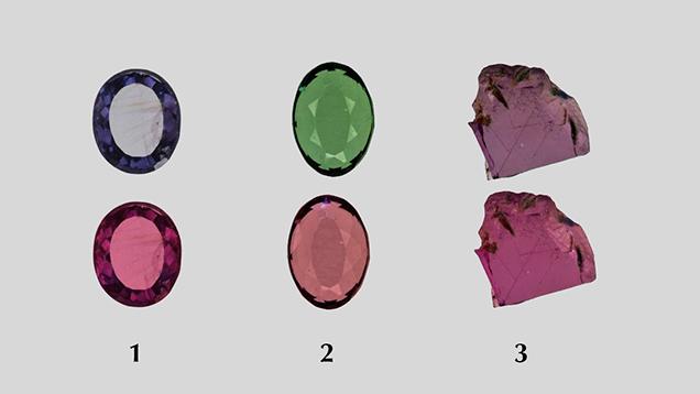 "Polished ""color-change"" pyrope garnet wafers under daylight-equivalent and incandescent light"