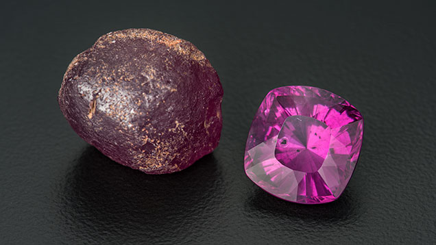 "13.88 ct faceted ""color-change"" pyrope and a 43.30 ct rough nodule"
