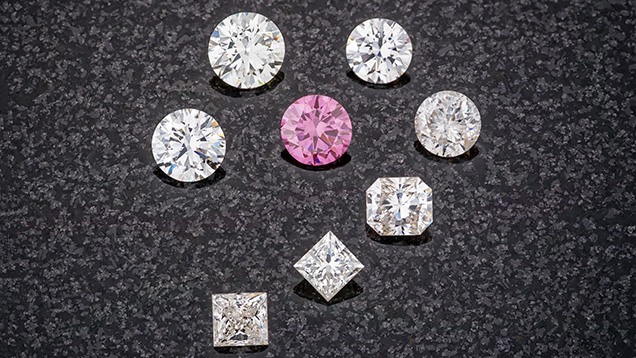 Near-colourless and pink CVD-grown diamonds.