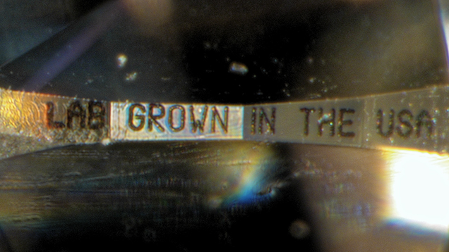 """Laboratory Grown"" inscription on girdle of CVD synthetic"