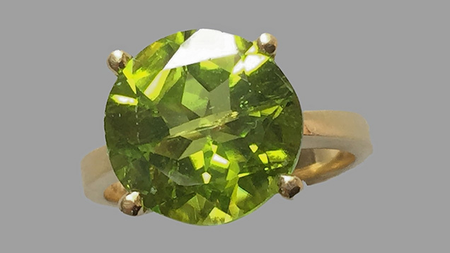 Peridot from Bien Ho deposit set in ring.