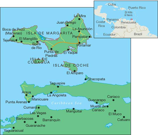 The Venezuelan islands of Margarita, Cubagua, and Coche.
