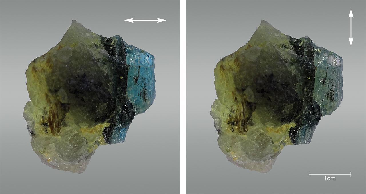 Greenish blue and pale yellow color in grandidierite