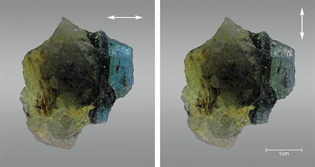 Greenish blue and pale yellow color in grandidierite