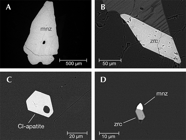 SEM backscattered images of mineral inclusions in grandidierite